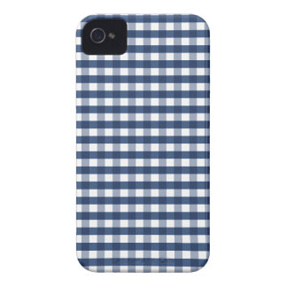Cute Navy Blue Gingham iPhone 4 Case-Mate Case