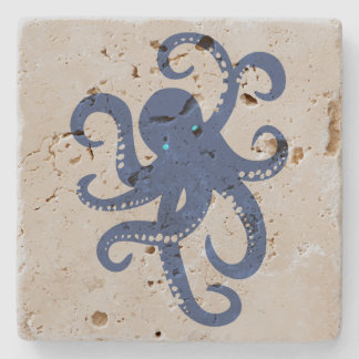 Cute Navy Blue Octopus Illustration Stone Coaster