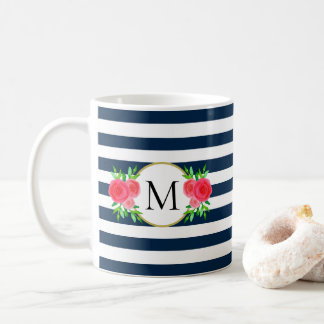 Cute Navy Blue White Striped Coral Floral Monogram Coffee Mug