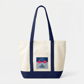 Cute Navy Chandelier & Ribbon Print Sweet Sixteen Tote Bags