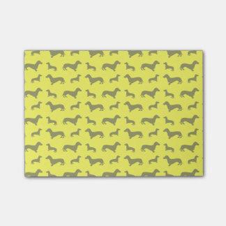 Cute neon yellow dachshund pattern post-it notes