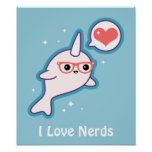 Cute Nerd Narwhal Poster