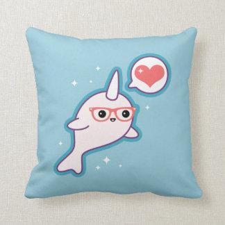 Cute Nerd Narwhal Throw Pillow