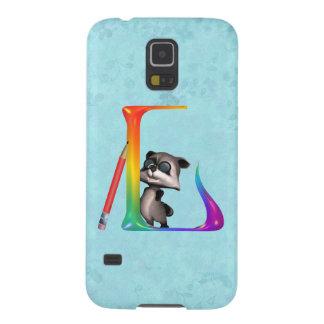 Cute Nerd Raccon Initial L Galaxy S5 Case