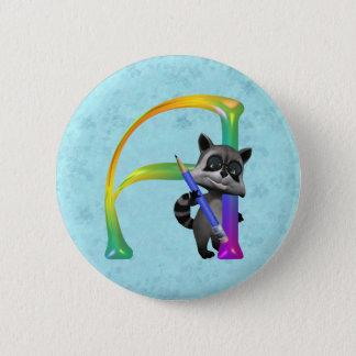 Cute Nerd Raccoon Monogram A 2 Inch Round Button