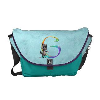 Cute Nerd Raccoon Monogram G Courier Bags
