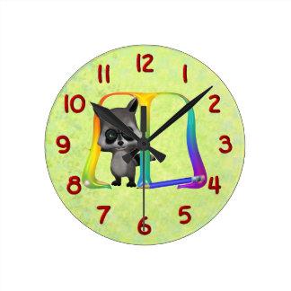 Cute Nerd Raccoon Monogram M Wallclock