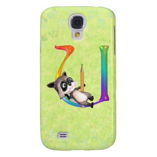 Cute Nerd Raccoon Monogram U HTC Vivid Case