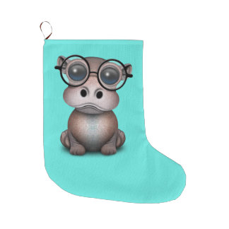 Cute Nerdy Baby Hippo Wearing Glasses Large Christmas Stocking