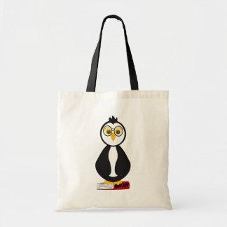Cute Nerdy Bookworm Penguin Budget Tote Bag