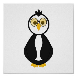 Cute Nerdy Penguin Posters