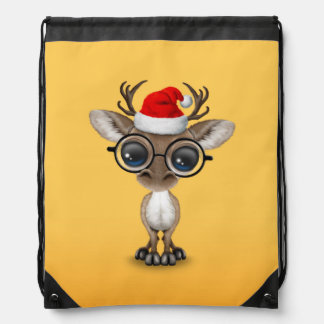 Cute Nerdy Reindeer Wearing Santa Hat Yellow Drawstring Bag