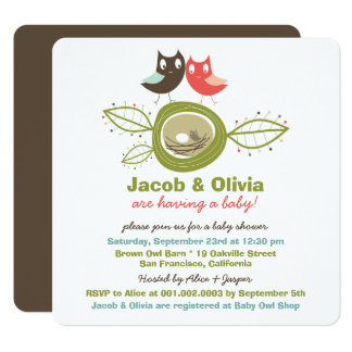 Cute Nesting Owl Family Baby Shower Invitation