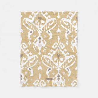Cute neutral gold beige ikat tribal patterns fleece blanket