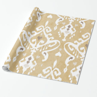 Cute neutral gold beige ikat tribal patterns wrapping paper