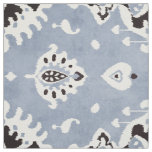 Cute neutral grey blue white ikat tribal patterns fabric