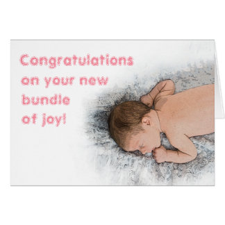 Cute New Baby Girl Congratulations Photo Card