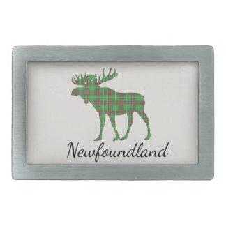 Cute Newfoundland moose tartan belt buckle