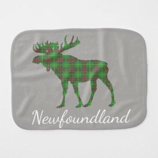 Cute Newfoundland moose tartan burp cloth