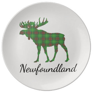 Cute Newfoundland moose tartan decor plate