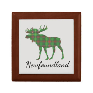 Cute Newfoundland moose tartan memory box