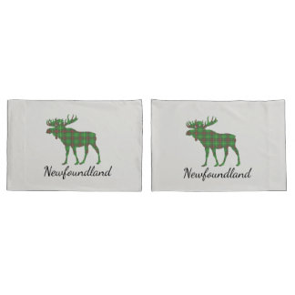 Cute Newfoundland moose tartan  pillow cases
