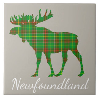 Cute Newfoundland moose tartan tile