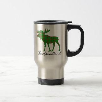 Cute Newfoundland moose tartan travel mug