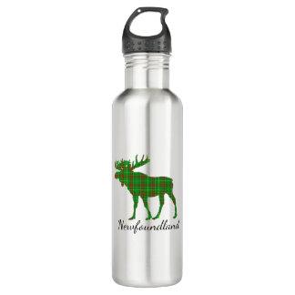 Cute Newfoundland moose tartan water bottle