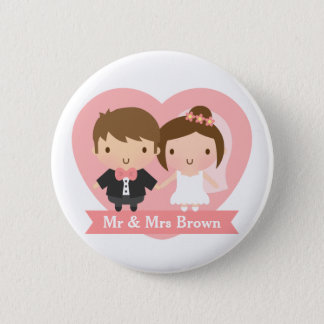 Cute Newlyweds Happily Married Couple 2 Inch Round Button