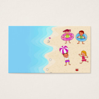 cute nice lovely template for swimming children business card