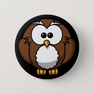 Cute Night Brown Owl Button Pin