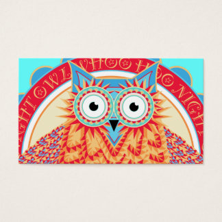 Cute Night Owl Fun Brightly Colored Drawing Business Card