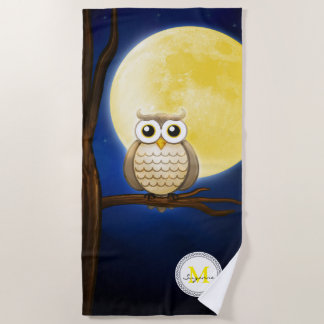 Cute Night Wise Owl | Monogram Beach Towel