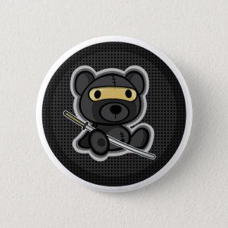 Cute ninja samurai warrior teddy bear button
