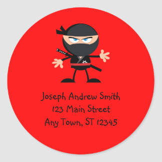 Cute Ninja Warrior Address Classic Round Sticker