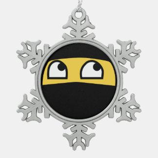 Cute Ninja Warrior emoji Snowflake Pewter Christmas Ornament