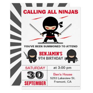 Cute Ninja Warrior Kids Birthday Party Invitation
