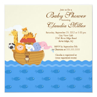 "Cute Noah""s Ark Baby Girl or Baby Boy Shower 5.25"" Square Invitation Card"