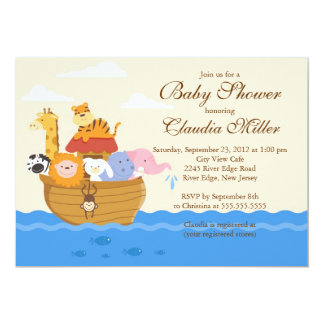 "Cute Noah""s Ark Baby Girl or Baby Boy Shower 5"" X 7"" Invitation Card"