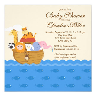 Cute Noah s Ark Baby Girl or Baby Boy Shower Announcement