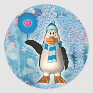 Cute north pole penguin with heart stickers