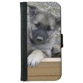 Cute Norwegian Elkhound Puppy iPhone 6 Wallet Case