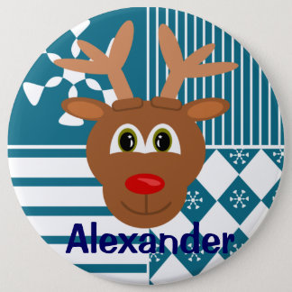 Cute Nose Reindeer Personalized Stocking Tag 6 Inch Round Button
