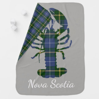 Cute Nova Scotia Lobster  tartan baby blanket