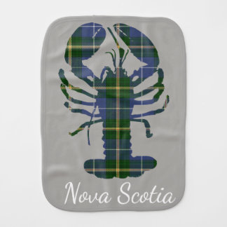 Cute Nova Scotia Lobster  tartan     burp cloth