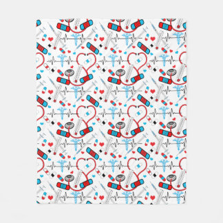 Cute Nurse | Doctor EKG Stethoscope Pattern Fleece Blanket