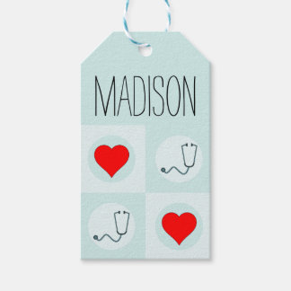 Cute Nurse or Doctor Stethoscope and Heart Pattern Gift Tags