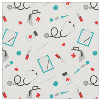 Cute nurse pattern work related material fabric