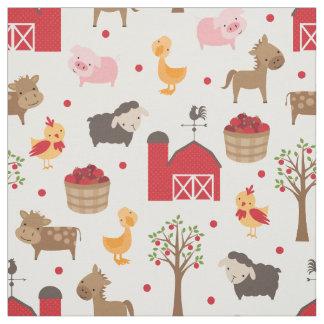 Cute Nursery Barn and Farm Animals Fabric